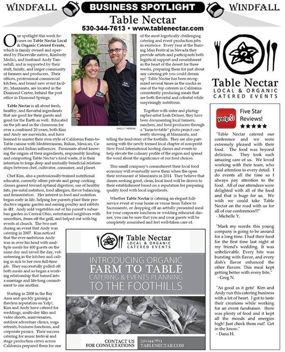 Windfall Business Spotlight - Table Nectar